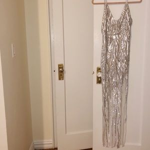 White with Silver sequins Maxi dress